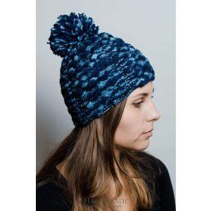 """Knit winter hat""""Blue melange"""""""