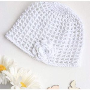 """Knitted baby hats """"White flower"""""""