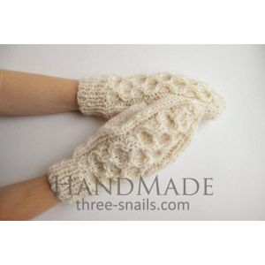 "Knitted handmade mittens ""Snow Time"""