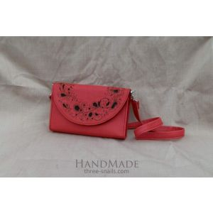 "Leather clutch bag ""Coral flowers"""