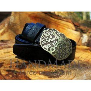 Leather mens belt «Life Tree»