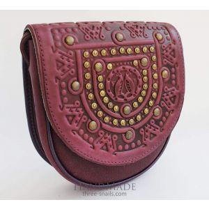 "Leather shoulder bag""Cherry dream"""