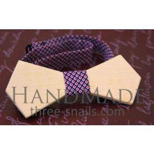 """Linden wood bow tie """"Hexagon"""""""