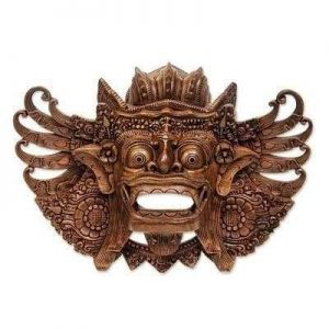 Lion Barong carved wood mask