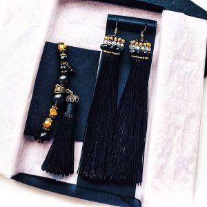 Long black tassel earrings and bracelet set