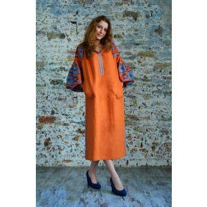 """Long embroidered dress """"Ethno ogange"""""""