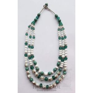 "Long glass bead necklace ""Royal mate"""