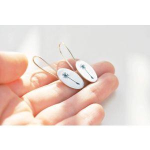 Long silver earrings Dandelion seeds
