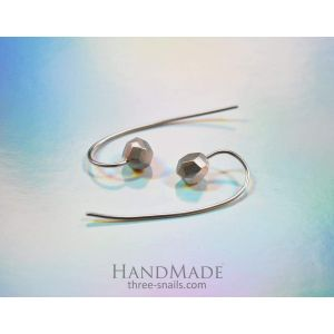 Long stud earrings with silver beads