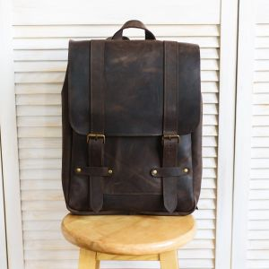 Large brown leather backpack