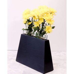Modern geometric flower vase black