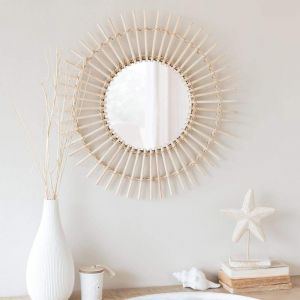 Natural bamboo rattan sun mirror