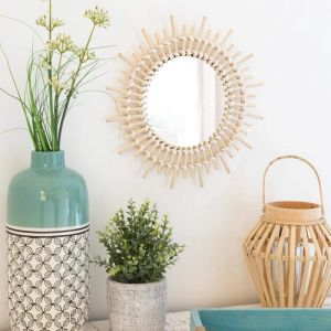 Natural rattan sun wall mirror