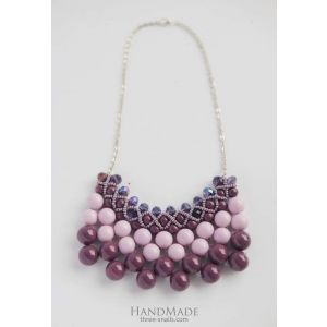 """Necklace of glass beads """"Blackberry cocktail"""""""