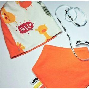 "Orange baby hat with personalized bib ""Orange mood"""