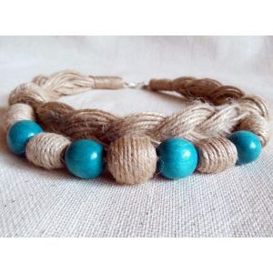 "Pigtail necklace ""Turquoise candies"""