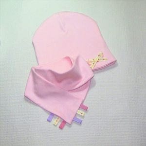 """Pink baby girl hat and bib """"Cats"""""""