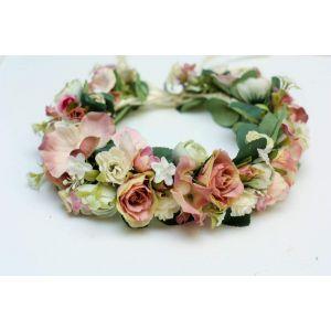 "Pink bridal flower crown ""Rose elegance"""