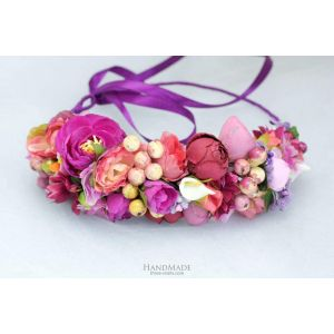 """Pink floral hair wreath """"Violet style"""""""
