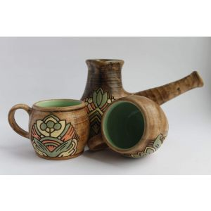 "Pottery coffee mugs and Turkish pot set ""Fragrant coffee"""
