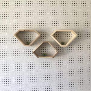 Reclaimed wood diamond shelf