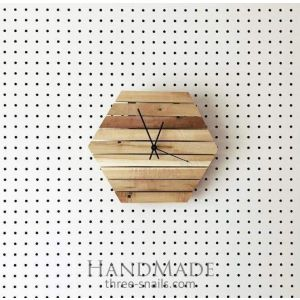 Reclaimed wood hexagon wall clock