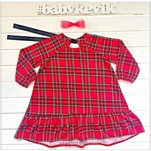 Red checkered dress for girls