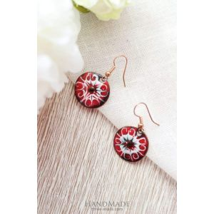 "Red earrings ""Unique pattern"""