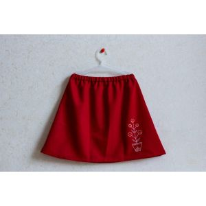 """Red skirt with embroidery """"Flower"""""""