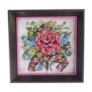 """Ribbon embroidery picture """"Pink rose"""""""