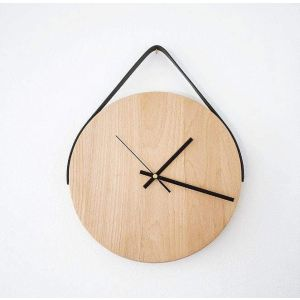 Round wall clock with leather strap