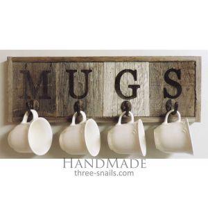 Rustic 4- Hook Wood Mug Rack