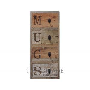 Rustic Vertical 4- Hook Wood Mug Rack