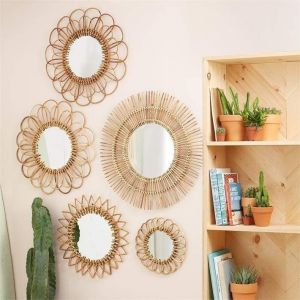 Set of 5 rattan wall mirrors