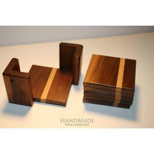 Set of 5 wood coasters