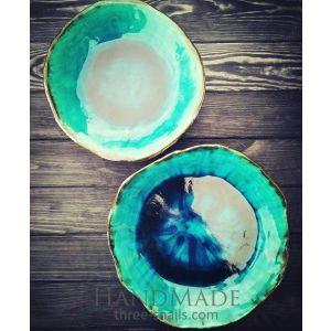 """Set of blue glazed bowls """"Waves on the sea beach"""""""