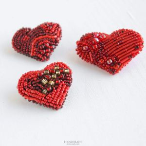 """Set of brooches 3 pieces """"Valentine's red hearts"""""""