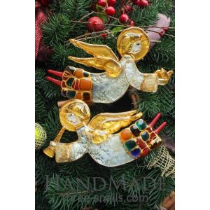 """Set of glass angels """"Christmas gifts"""""""