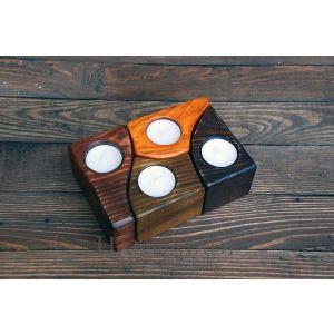 "Set of wooden candleholders ""Pinewood"""