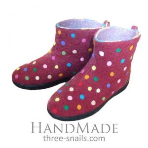 "Slipper boots ""Multicolored polka dots"""