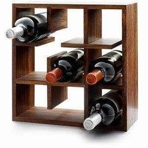 Solid wood wine bottles shelf