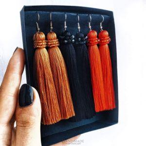 Сolourful tassel earrings - set of 3 pieces