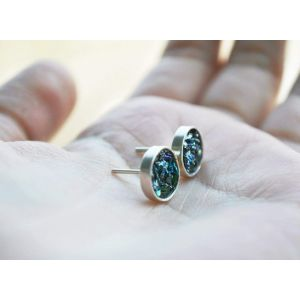 Stud earrings with volcanic glass
