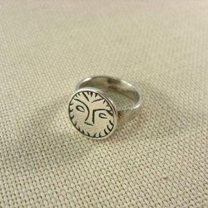Sun ring signet. Silver slavic ring