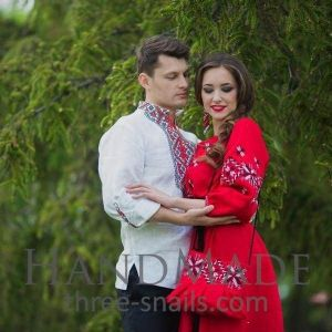 "Ukrainian clothing for couple ""White and red"""