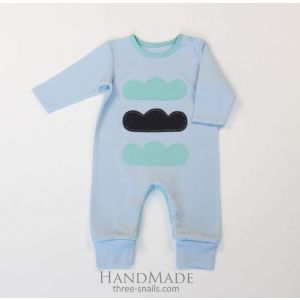 """Unique baby clothes. Baby romper """"Three clouds"""""""