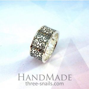 Unique silver jewelry. A ring in ethnic style