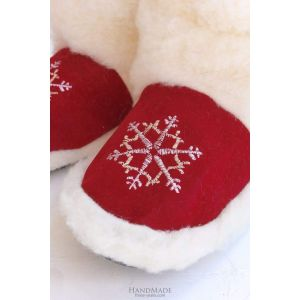 """Warm slippers """"Red Christmas Gift"""""""