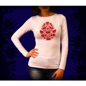 White long sleeved t shirt with embloidery «Baroque Tree»