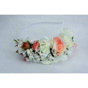 """White peach wedding head piece """"White and peach cream"""""""